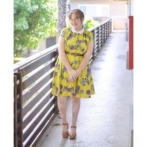 Eshakti Yellow Floral Collared Dress